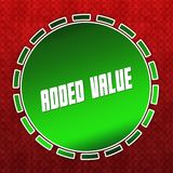 Green ADDED VALUE badge on red pattern background. Illustration Royalty Free Stock Image