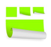 Green adhesive papers. Set of few little green edhesive papers Stock Photography
