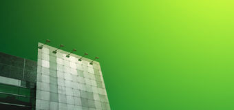 Green Advertising. Metal Billboard on Green Background Stock Photos