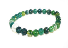 Green agate gemstone bracelet Royalty Free Stock Image