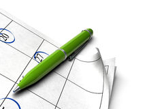 Green agenda. Agenda over a white background with a green ball point pen image for an agnle of page Royalty Free Stock Photography