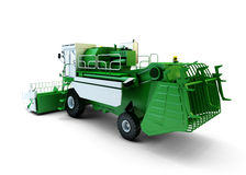 Green agricultural combine-harvester. Isolated on white Stock Image
