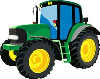 Green agricultural tractor Stock Image