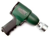 Green air impact wrench on white background Royalty Free Stock Images