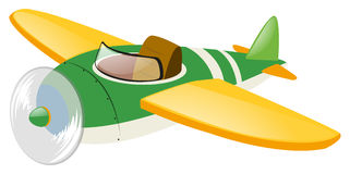 Green airplane with yellow wings. Illustration Stock Images