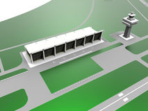 Green airport. 3D render illustration of a green airport landing field and communication tower Stock Image