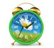 Green alarm clock Stock Images