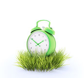 Green alarm clock. In a patch of grass Stock Image