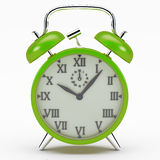 Green alarm clock. The alarm clock as a symbol of the rush of the modern world Stock Image