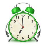 Green alarm clock character Stock Photo