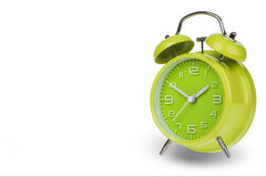 Green alarm clock with the hands at 10 and 2 Stock Images