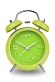 Green alarm clock with the hands at 10 and 2 isolated on a white background Stock Image