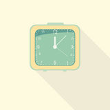 Green alarm clock icon with long shadow.flat design.vector illustration. Royalty Free Stock Image