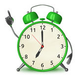 Green alarm clock with idea Stock Images