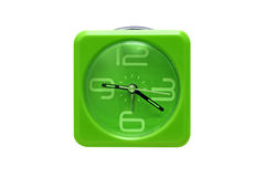 Green alarm clock isolated Royalty Free Stock Photo