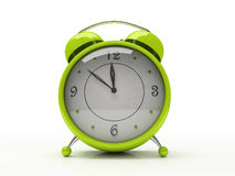 Green alarm clock isolated on white background 3D Stock Photo