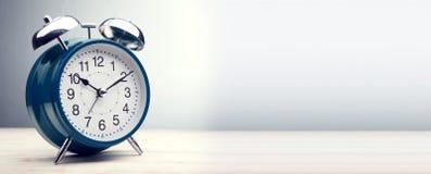 Green alarm clock morning time. Classic blue alarm clock morning time Royalty Free Stock Photos