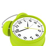 Green alarm clock. Red alarm clock isolated on white background. 3d render Stock Photography