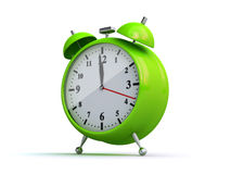 Alarm clock. Green alarm clock on the white background (3d render Stock Images