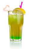 Green alcohol cocktail with lemon slice isolated Stock Images