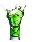 Green alcohol cocktail set with splash on white Stock Photos