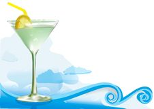 Green alcohol cocktail. With waves clouds.Mesh used stock illustration