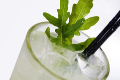 Green alcoholic cocktails  with arugula Royalty Free Stock Images