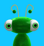 Green Alien. A Funny 3D alien green character  staring with two orange antennas placed on a fresh blue background Royalty Free Stock Photography