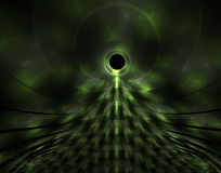 Green Alien. Fractal rendering of neon green patterns and curves resembling an alien Stock Photos