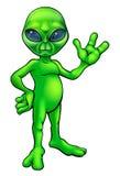 Green Alien Cartoon Royalty Free Stock Photo