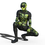 Green alien creature. In stylish sci-fi suit outfit  on white background. 3d illustration Stock Image