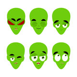 Green alien emoji. emotion set. Aggressive and good UFO face. Su. Rprised and sleep. Space invader avatar collection Royalty Free Stock Photo