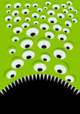 Green alien eyes and mouth. Illustration of a green alien with many eyes and a sharp toothed open mouth Royalty Free Stock Photo