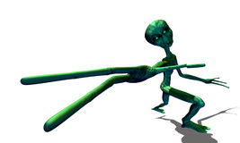 Green alien with hand stretched forward Stock Photo