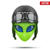 Green Alien head in aviator helmet.. Vector. Green Alien head in aviator helmet. Vector illustration on white background royalty free illustration