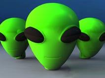 Green Alien Heads. Three cute green alien heads Royalty Free Illustration