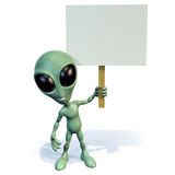 Green alien holding sign. 3d rendering of a little green cartoon alien holding a blank sign Royalty Free Stock Image