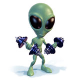 Green alien lifting weights Stock Images