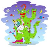 Green Alien monster. Holding on hands a rescued astronaut. Vector AI EPS 10 file Stock Photography