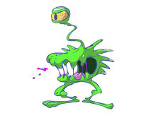 Green alien with one eye Royalty Free Stock Image
