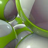 Green alien techno object balls Stock Images