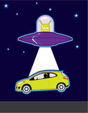 Green Alien UFO abduction Royalty Free Stock Photo