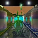Green alien is on the water corridor Stock Images