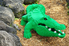 Green Aligator made by lego Royalty Free Stock Photography