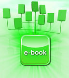 Green all in one electronic book scheme with icon Royalty Free Stock Image
