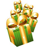 Green alling gifts. Royalty Free Stock Image