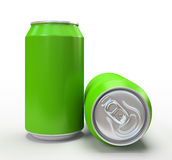 Green alluminium cans on white background Stock Photos