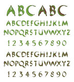 Green alphabet from leaves. Detailed set of letters and numbers made of leaves stock illustration