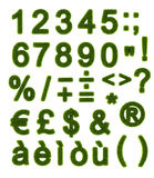Green alphabet - Numbers and Symbols. Numbers and Symbols of the alphabet made of grass Stock Photo