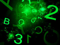 Green alphabet and one two three numbers Royalty Free Stock Image